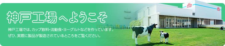 神戸工場へようこそ 神戸工場では、カップ飲料・流動食・ヨーグルトなどを作っています。ぜひ、実際に製品が製造されているところをご覧ください。